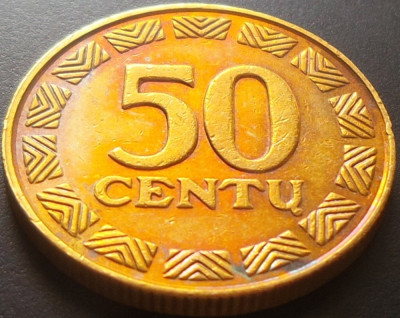 Moneda 50 Centu - LITUANIA, anul 2000 *cod 3429 xF+ luciu batere foto