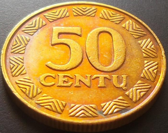 Moneda 50 Centu - LITUANIA, anul 2000 *cod 3429 xF+ luciu batere