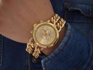 NOU Ceas de dama metalic tip lant auriu bratara metalica GENEVA cutie cadou