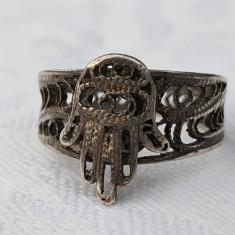 RAR Inel argint HAMSA MANA MAICII DOMNULUI superb EGIPT 1900 finut DELICAT