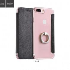 Husa slim Hoco iPhone 7 PLUS tip carte NEGRU spate transparent cu inel sustinere - Husa Telefon