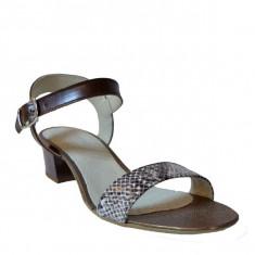 Sandale dama cu toc, MPL 615, maro croco din piele naturala