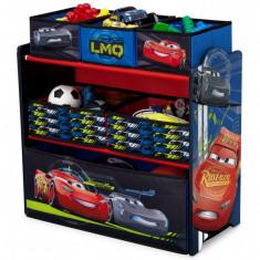 Organizator jucarii cu cadru din lemn Cars Team - Sistem depozitare jucarii