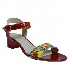 Sandale dama cu toc, MPL 608, rosu din piele naturala