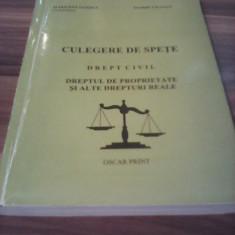 CULEGERE DE SPETE DREPT CIVIL DREPTUL DE PROPRIETATE SI ALTE DREPTURI REALE 1998 - Carte Drept civil