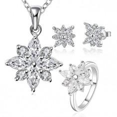 Set bijuterii placat argint 925 cercei dama +lant+pandantiv, inel poze reale - Set bijuterii argint