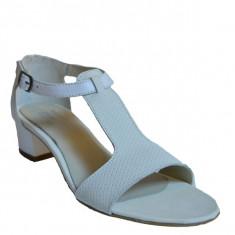 Sandale dama cu toc, MPL 612, alb din piele naturala