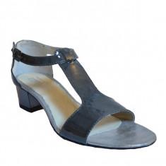 Sandale dama cu toc, MPL 613, gri din piele naturala