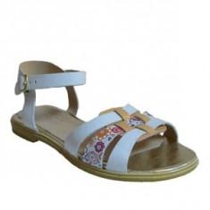 Sandale dama, MPL 604, alb bej din piele naturala
