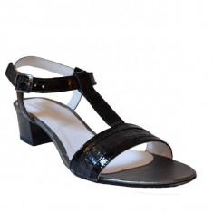 Sandale dama cu toc, MPL 609, negru din piele naturala