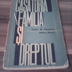 CASATORIA FAMILIA SI DREPTUL -TUDOR R.POPESCU 1963 - Carte Dreptul familiei