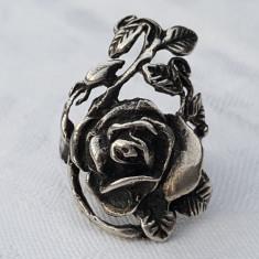 Inel argint model vegetal floral TRANDAFIR Franta 1900 art nouveau SPLENDID rar - Bijuterie veche