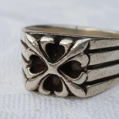RAR Inel argint SIGILIU CELTIC cu FLORI de LIS ca insemne VECHI vintage SUPERB