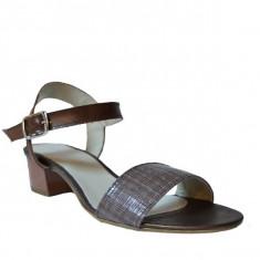 Sandale dama cu toc, MPL 614, maro din piele naturala