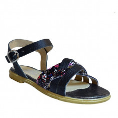 Sandale dama, MPL 600, negru floral din piele naturala