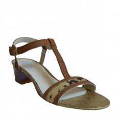 Sandale dama cu toc, MPL 610, maro din piele naturala