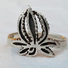 Inel argint MARIJUANA vintage DE EFECT executat manual Patina minunata