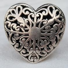 Inel argint INIMA vechi SPLENDID executat manual VINTAGE de EFECT superb