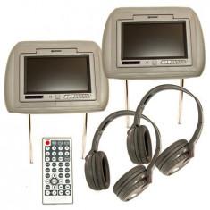 SET 2 TETIERE MONITOR TFT 7 INCH + DVD +CASTI - Monitor Auto