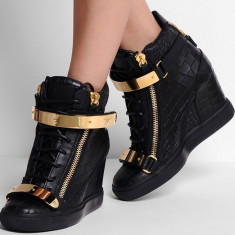 Sneakers dama cu platforma GIUSEPPE ZANOTTI - PIELE NATURALA - Super Promotie!!! - Ghete dama Giuseppe Zanotti, Culoare: Negru, Marime: 39
