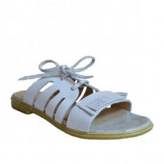 Papuci dama, MPL 621, alb din piele naturala - Slapi dama