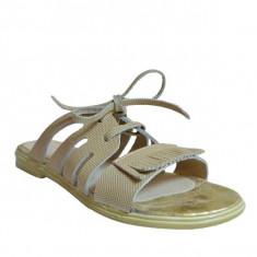 Papuci dama, MPL 623, auriu din piele naturala - Slapi dama