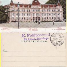 Brasov - Palatul de Justitie, rara-cenzura WWI, WK1 - Carte Postala Transilvania 1904-1918, Circulata, Printata