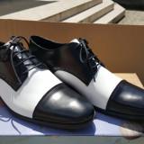 Pantofi din piele - Pantofi barbat, Marime: 41, Culoare: Alb