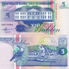 SURINAME 5 gulden 1991 UNC!!! - bancnota america