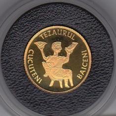 Moneda 10 lei 2006 BNR aur pur 999% Tezaurul de la Cucuteni Baiceni Iasi - Moneda Romania