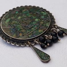 RARA Brosa Medalion ARGINT cu MICROMOZAIC ci margele ONIX veche MEXIC splendida