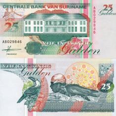 SURINAME 25 gulden 1991 UNC!!! - bancnota america