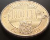 Moneda 1000 Lei - ROMANIA, anul 2001 *cod 5026  Allu, Aluminiu