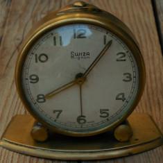 CEAS DE MASĂ ELVEȚIAN DEȘTEPTĂTOR, SWIZA MIGNON 4 RUBINE SWISS MADE, VECHI 1950! - Ceas de masa
