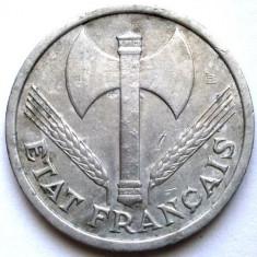 WW2, FRANTA, GUVERNUL DE LA VICHY, 1 FRANC 1942, Europa, Aluminiu
