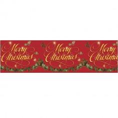 Banner decorativ pentru Craciun Merry Christmas - 15 m, Amscan 674139, 1 buc