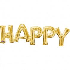 Pachet Litere Happy Auriu - 76 x 25 cm, Amscan 33755
