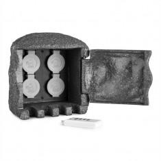 Waldbeck Power Rock soclu cu 4 prize, cablu de 3m, piatra, gri inchis - Filtru si material filtrant acvariu