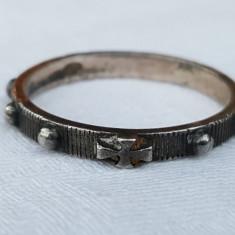 RAR Inel argint CRUCE de MALTA tip verigheta VECHI de EFECT vintage de COLECTIE