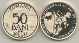 ROMANIA  50  BANI  2017 , 10 Ani  ADERARE la UNIUNEA EUROPEANA  , PROOF  capsula, Alama