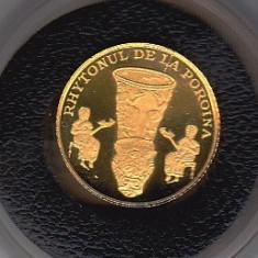 Moneda 10 lei 2007 BNR aur pur 999% Tezaurul de la Poroina Mehedinti - Moneda Romania