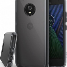Husa Protectie Spate Ringke Fusion Smoke Black plus folie protectie display pentru Motorola Moto G5 Plus 2017 - Husa Telefon