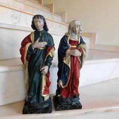 ICOANA - 2 SCULPTURI DIN LEMN FECIOARA MARIA SI IOSIF - Icoana pe lemn