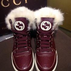 Sneakers dama fara toc GUCCI - piele si blanita naturala - Super Promotie!!! - Adidasi dama Gucci, Culoare: Marsala, Marime: 40, Piele naturala