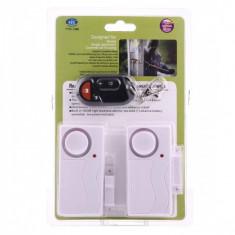 Set Senzor magnetic deschidere usa / fereastra cu alarma alb (2 bucati) - Senzor usa si fereastra