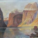 Peisaj montan cu lac-sf. sec.XIX, Peisaje, Ulei, Impresionism