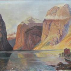 Peisaj montan cu lac-sf. sec.XIX - Pictor strain, Peisaje, Ulei, Impresionism
