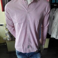 Camasa barbati in carouri elastica alb cu roz slim fit casual, Marime: S, XXL, Culoare: Din imagine, Maneca lunga
