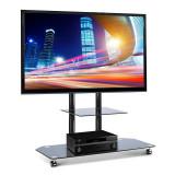 Stand pentru Home Cinema cu suport pentru TV şi rafturi din sticlă neagră - Suport TV