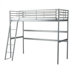 Pat suspendat, argintiu – SVÄRTA - IKEA - Pat supraetajat pentru copii Ikea, 200X90cm, Gri